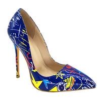 Mode dunne hoge hak spitse print bloemen party wedding vrouwen schoenen plus size wit en blauw 2 kleur