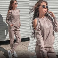 Women Sweater Suit Casual 2Pcs Sets Solid Women Tracksuit Rhinestone Knitted Trousers Jumper Tops Costume Women Set