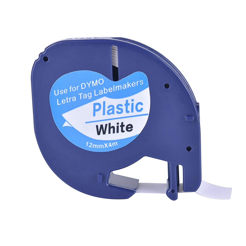 Fita de etiqueta lt 91201 12mm * 4m compatível para fita de dymo letratag preto no branco 91221 91331 59422 fita de impressora fita plástica