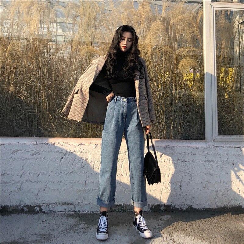 Spring 2019 Korean retro versatile temperament retro loose straight leg jeans high waist trend (9)