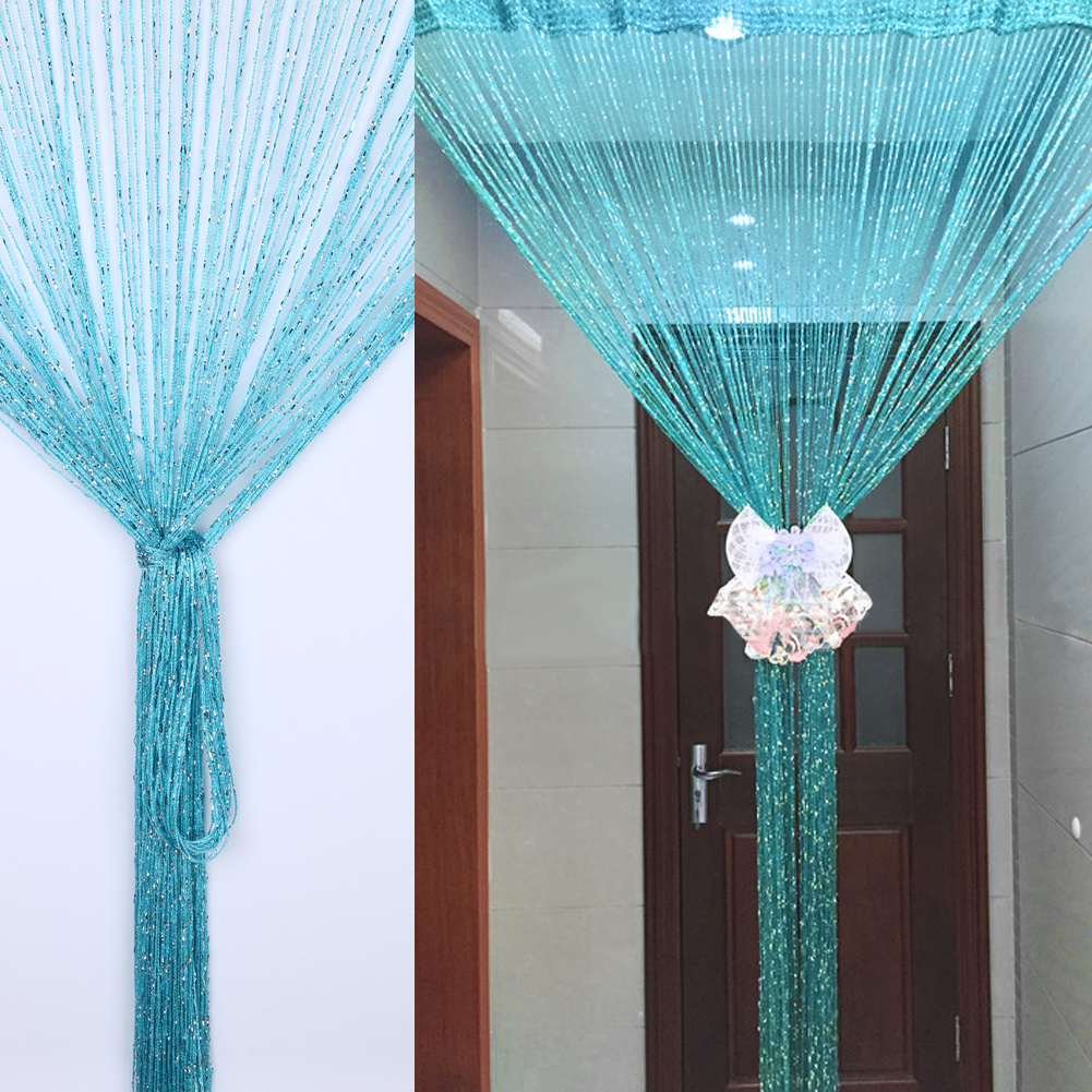 1*2m String Tassel Hanging Curtain Divider Living Room decorated with Silver Encryption Tulle Window Curtains Door Window Decor