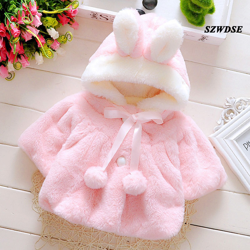 NEW Baby Autumn Winter warm tops soft Plush rabbit-ear hoodies newborn cute cosplay clothing Free shipping