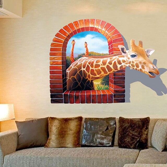 3D Lebhafte Afrika Giraffe Fenster Wandaufkleber Steuern Dekor Wohnzimmer  Fotorahmen Wandbild Kunst 8007 Pvc Wandtattoos Poster