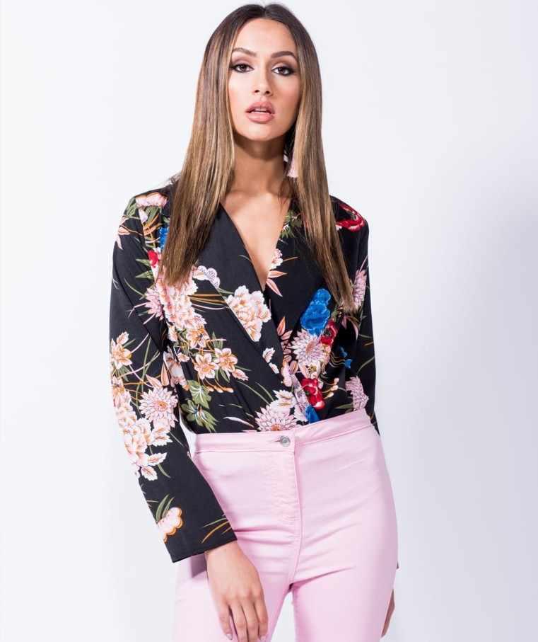 NiceMix 2019 sommer body frauen langarm v-ausschnitt floral gedruckt overall büro körper feminino mono mujer elegante body