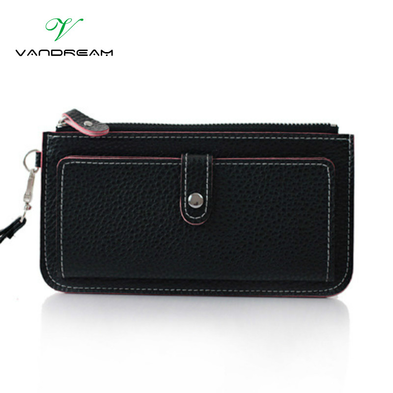 2016 Fashion Women Wallets Wristlet Bag Solid PU Leather Long Wallet Clutch Change Purse Brand Black Lady Cash Phone Card Holder