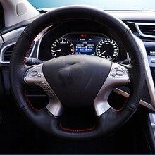 цена Free Shipping High Quality cowhide Top Layer Leather handmade Sewing Steering wheel covers protect For Nissan MURANO в интернет-магазинах