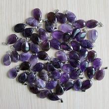 טבעי סגול קריסטל Amethysts אביזרי 50pcs אבן טיפת מים חרוזים תליון עבור תכשיטי ביצוע