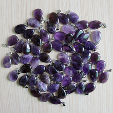 Natural Purple Crystal Amethysts Stone Water Drop Beads Pendant for Jewelry Making trendy accessories 50pcs/lot