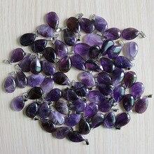 Natuurlijke Paarse Kristallen Amethisten Stone Water Drop Kralen Hanger Voor Sieraden Maken Trendy Accessoires 50 Stks/partij