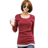2017 Casual T Shirts Women Fashion Tops Long Sleeve Autumn Winter O Neck Button T Shirt