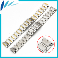 Stainless Steel Watch Band 15mm 20mm for Cartier Butterfly Clasp Strap Loop Wrist Belt Bracelet Silver + Tool