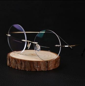 Eyesilove women Titanium Alloy Rimless myopia glasses Nearsighted Glasses prescription glasses -1.0 -1.5 -2.0 -2.5 -3.0 -3.5 -4