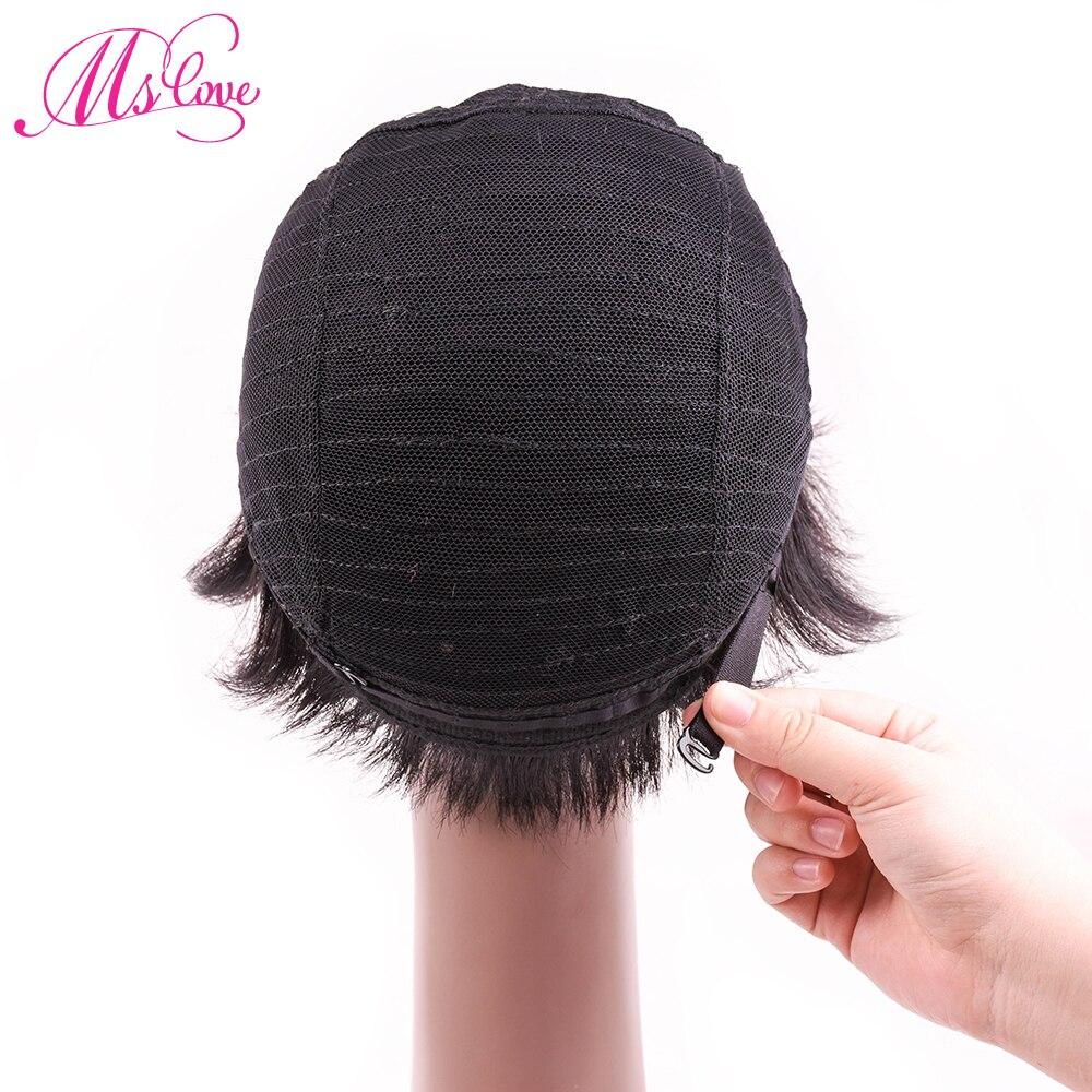 Ms Love Short Straight Human Hair Wig Natural Color #1b Human Hair Wig Non Remy Brazilian Hair Wig Free Shipping