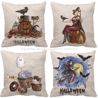 Pumpkin Cushion Cover Halloween Decoration Witch Fly To Moon Bear Throw Pillow Case For Home And
