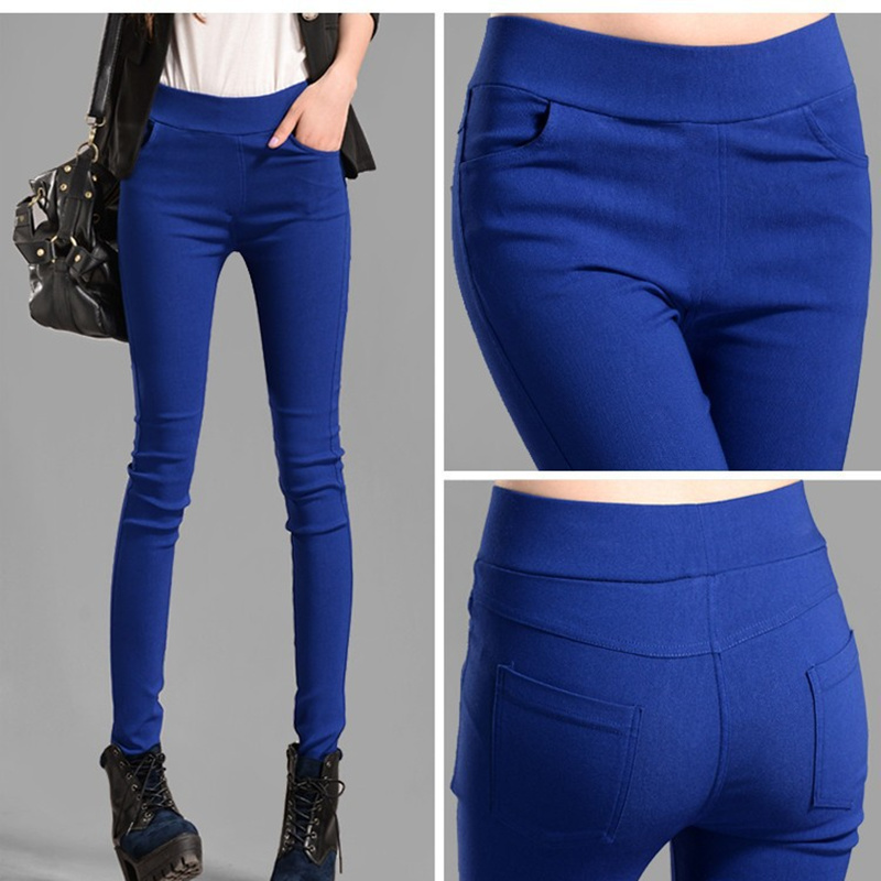 Women Autumn new high-waist pocket candy-colored pants trousers elastic thin skinny pants thin leg pants leggings S2855