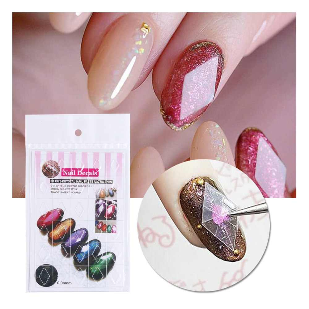 1pcs 3D Nail Sticker Decals Gem Diamond Nail Art Stencil Transfer Guide Decoration Rhombus Oval Modeling Sliders Manicure JI783