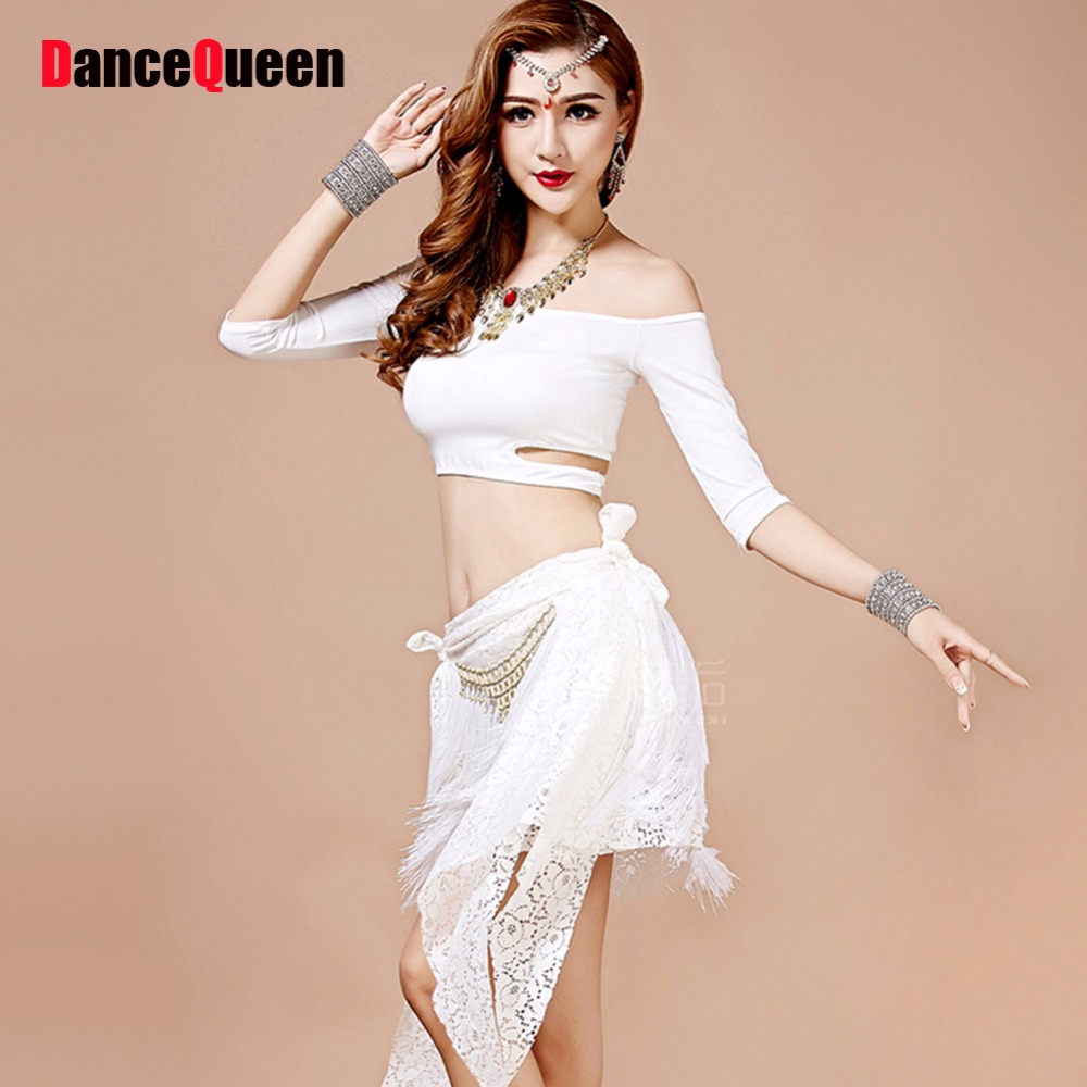 Professional Belly Dance Costume Set Red/Green/White Dance
