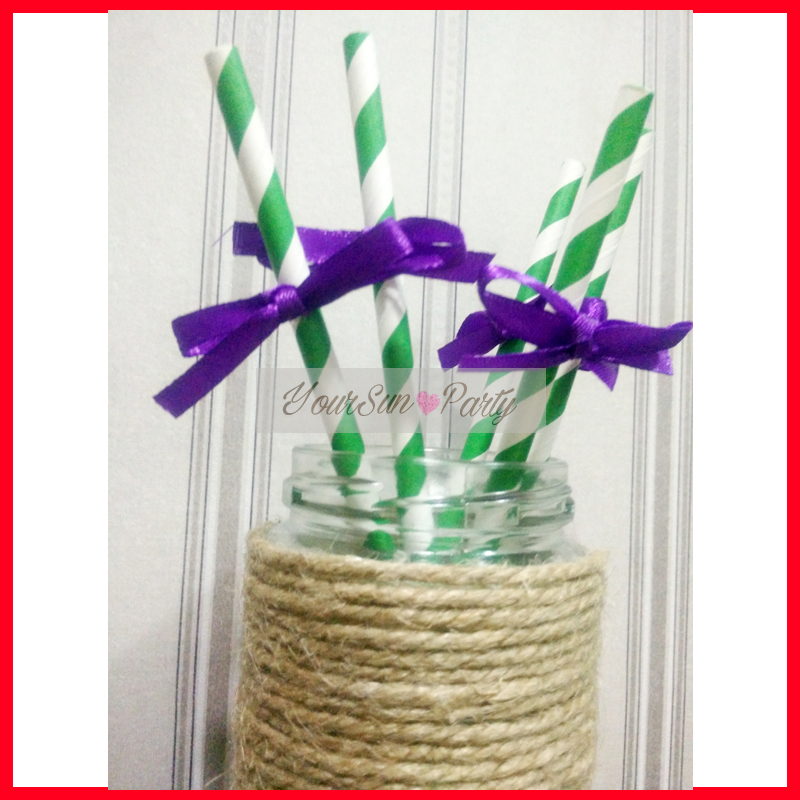 Free Shipping <font><b>Mardi</b></font> <font><b>Gras</b></font> Festival Party <font><b>Straws</b></font> Green And Purple Partyware 12 Pieces Per Lot ECO <font><b>Paper</b></font> <font><b>Straws</b></font> Table Decoration