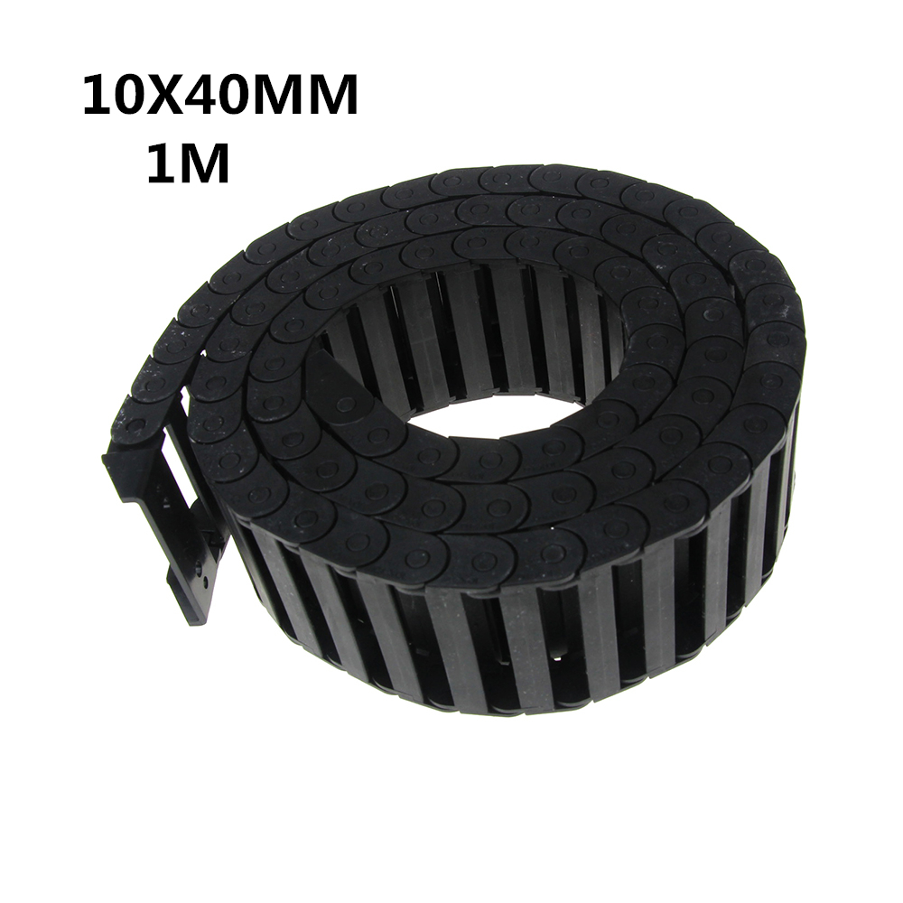 цена на 10 x 40mm 10*40mm L1000mm Cable Drag Chain Wire Carrier with End Connectors for CNC Router Machine Tools