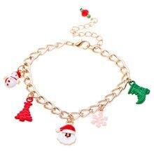 Модные браслеты в рождественском стиле полые снежинки колокол сани Новогоднее украшение в подарок для женщин YF3