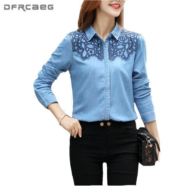 3XL Women Denim Shirt 2017 Autumn Vintage Floral Embroidery Jeans Blouse Long Sleeve Plus Size Blusa Clothing Casual Ladies Tops