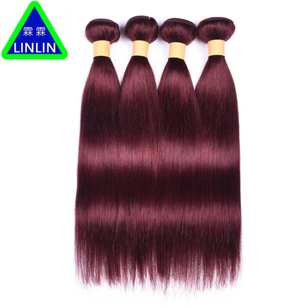 LINLIN Pre-colored #99J Red Wine Color Mongolian Straight Hair Weave 4 Bundles Deal Human Hair Weaving Burgundy Hair Hair Roller