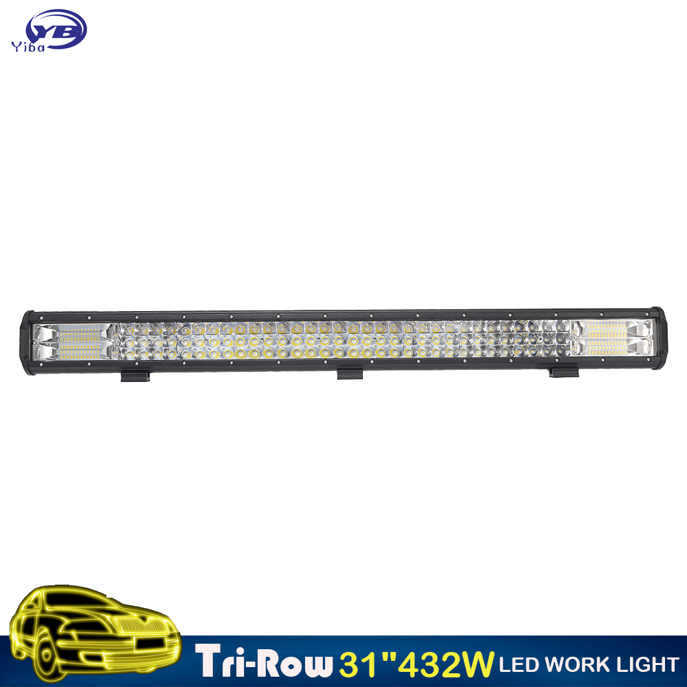 YB Yiba 31 inch 432w 7D Tri Rows 4X4 offroad car LED Light Bar waterproof Combo Beam 12v 24v auto truck led light bar