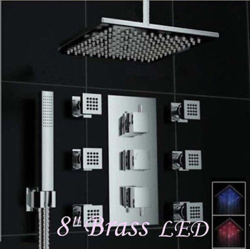 Comtemporary Chrome Finish LED 8-inch Rain Thermostatic Mixer Shower Faucet Body Sprays + Hand Shower wall mount 10 inch thermostatic bathroom shower faucet mixer taps dual handle with hand held shower chrome finish