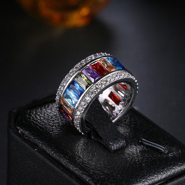 Модное Новое поступление цветные яркие фианиты Женское кольцо
