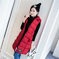 Korea 2016 Autumn Winter Latest Fashion Women Slim Cotton Down Vest Leisure Big yards Hooded Warm Medium long Women Vest G0342