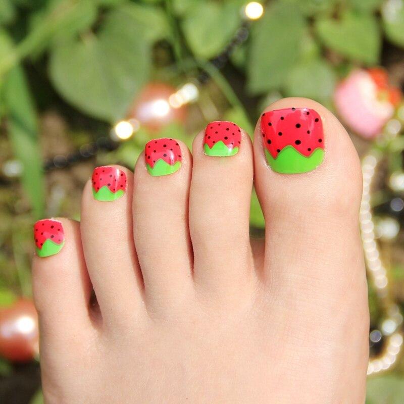 False Toe Nails Art Tips Green Leaves Strawberry Red Acrylic Fake ...