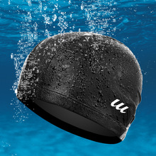 New Scorching Silicone Waterproof Males And Ladies Swimming Cap Surf Hat Excessive Elastic Comfy Sports activities Swim Pool Bathe Cap FCSHA1612