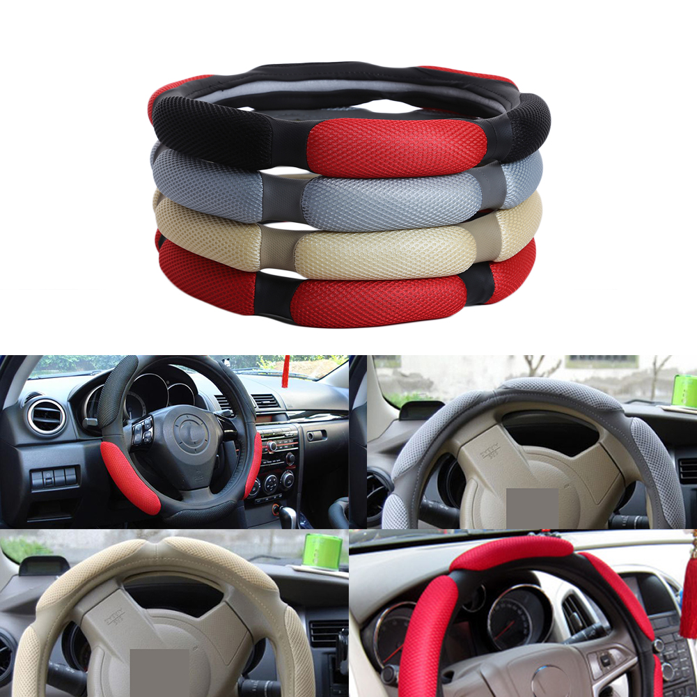 38cm Universal Car Steering Wheel Cover 3D Sandwich Auto Steering-wheel Cover Sport Breathable Skidproof Stuurhoes Funda Volante