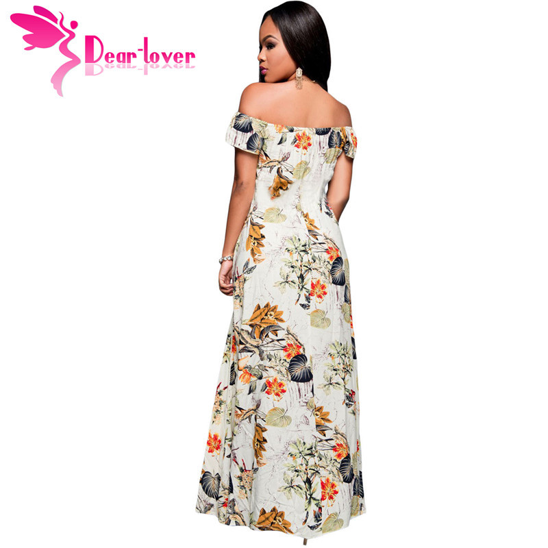 ad362a479b4c Dear Lover Off Shoulder Jumpsuit Women Boho Style 2018 summer Beige Multi  color Floral Maxi Romper Overall vestido largo LC64076-in Rompers from  Women s ...