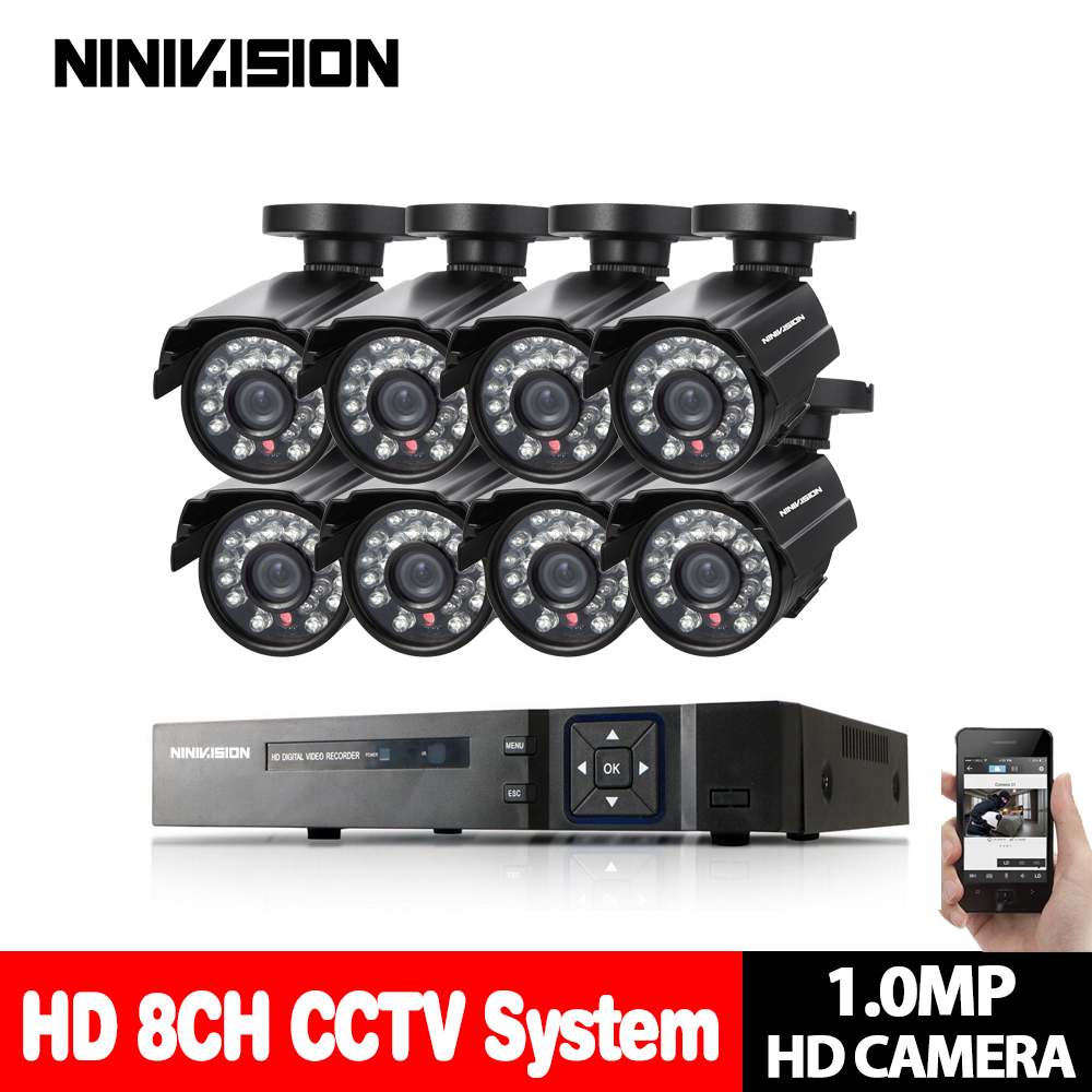 NINIVISION 8 channel AHD H 1080P font b CCTV b font DVR with 720p 1 0MP