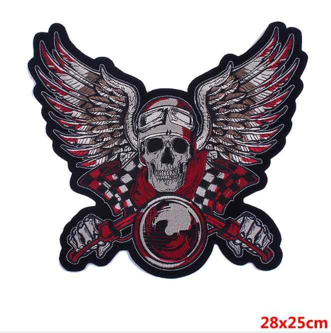 Large size Iron-on Skull wing  Motorcycle Patches sew on vest MC patches heavy metal biker rider for vest Jackets