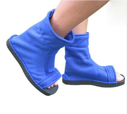 Naruto Konoha Ninja Village Black Blue Sandals Boots Shoes