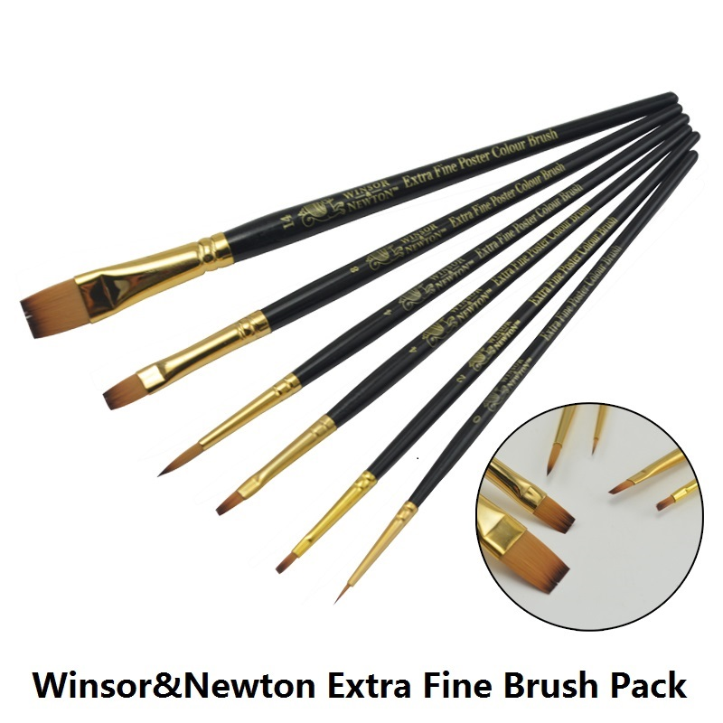 цена на WINSOR&NEWTON painter professional Nylon Paintbrushes Gouache Oil Acrylic paint brushes painting supplies 6pieces/set