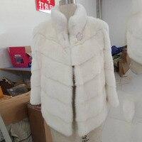 Новая женская шуба из натурального меха норковая шуба в китайском стиле Модное теплое пальто женское пальто с длинным рукавом Белое Норков