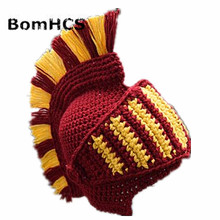 Funny Knight Helmet Beanie with Beard Mask Gift Hat Handmade Knitted Winter Thick Cap цены