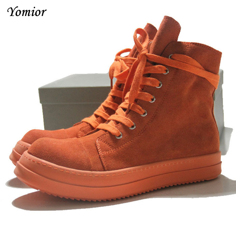 New Men Shoes High Quality High Platform Man Boots Genuine Cow Leather Ankle Botas Fashion Orange Handmade Army Desert Shoes цена