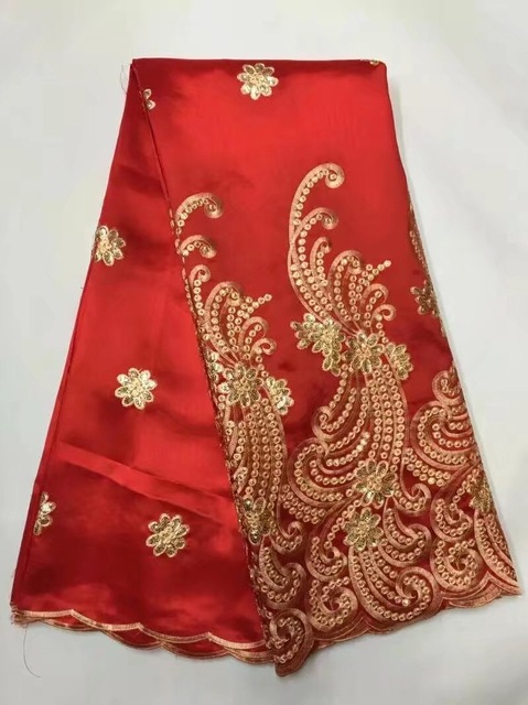 2017 Popular African George Lace Fabrics Red Sequins Embroidery