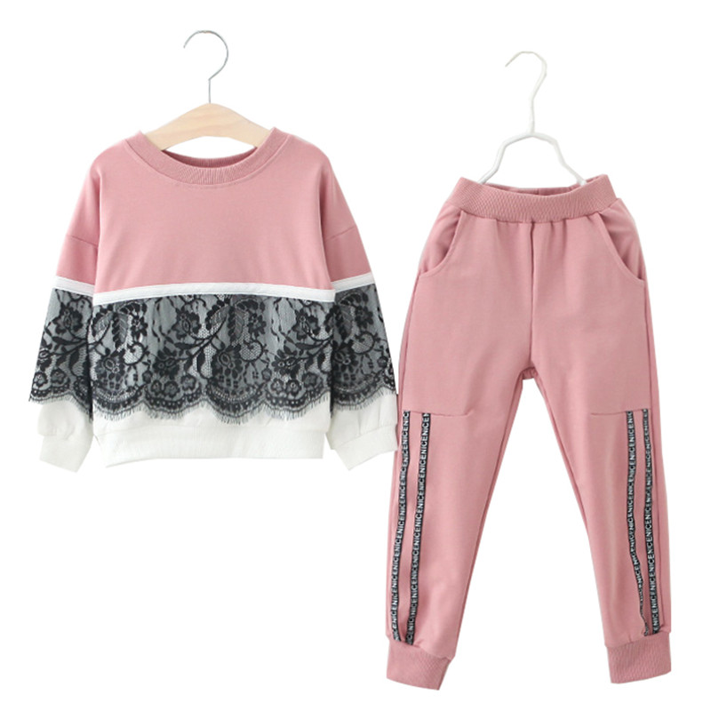Children Clothes 2018 Autumn Winter Baby Girls Clothes Set T-shirt + Pants 2pcs Outfit Kids Sport Suit For Girls Clothing Sets 2018 kids girls clothes set baby girl summer short sleeve print t shirt hole pant leggings 2pcs outfit children clothing set
