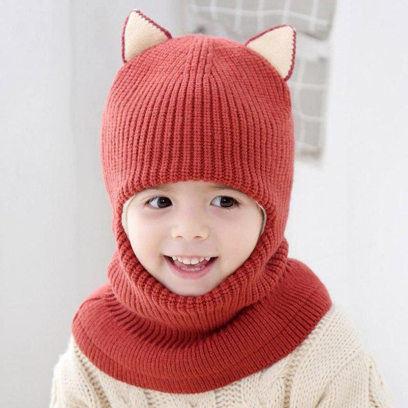 Doitbest 2 6 años sombrero de invierno para niños gorros Plus fur niños  Beanie niño sombreros de punto proteja cuello de la cara niño niñas Earflap  Caps en ... acdba8efc19