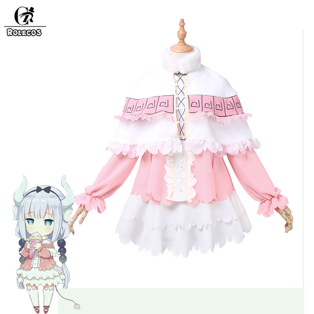 ROLECOS New Anime Kobayashi san Chi no Maid Dragon Cosplay Costumes Miss Kobayashi's Dragon Maid Kanna Kamui Cosplay Costumes