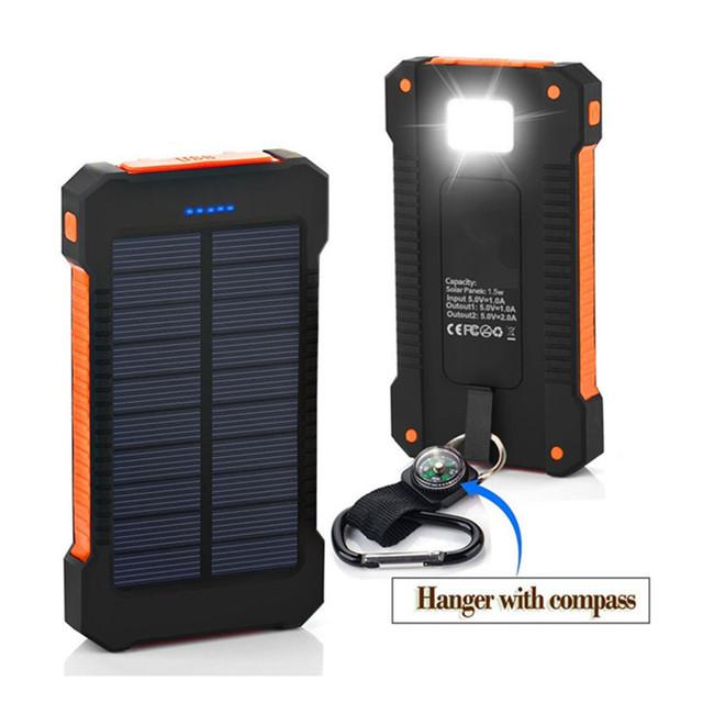 Carregador solar 8000 mah banco de potência à prova d' água bússola solar battery charger dual usb com lanterna led para iphone samsung lg