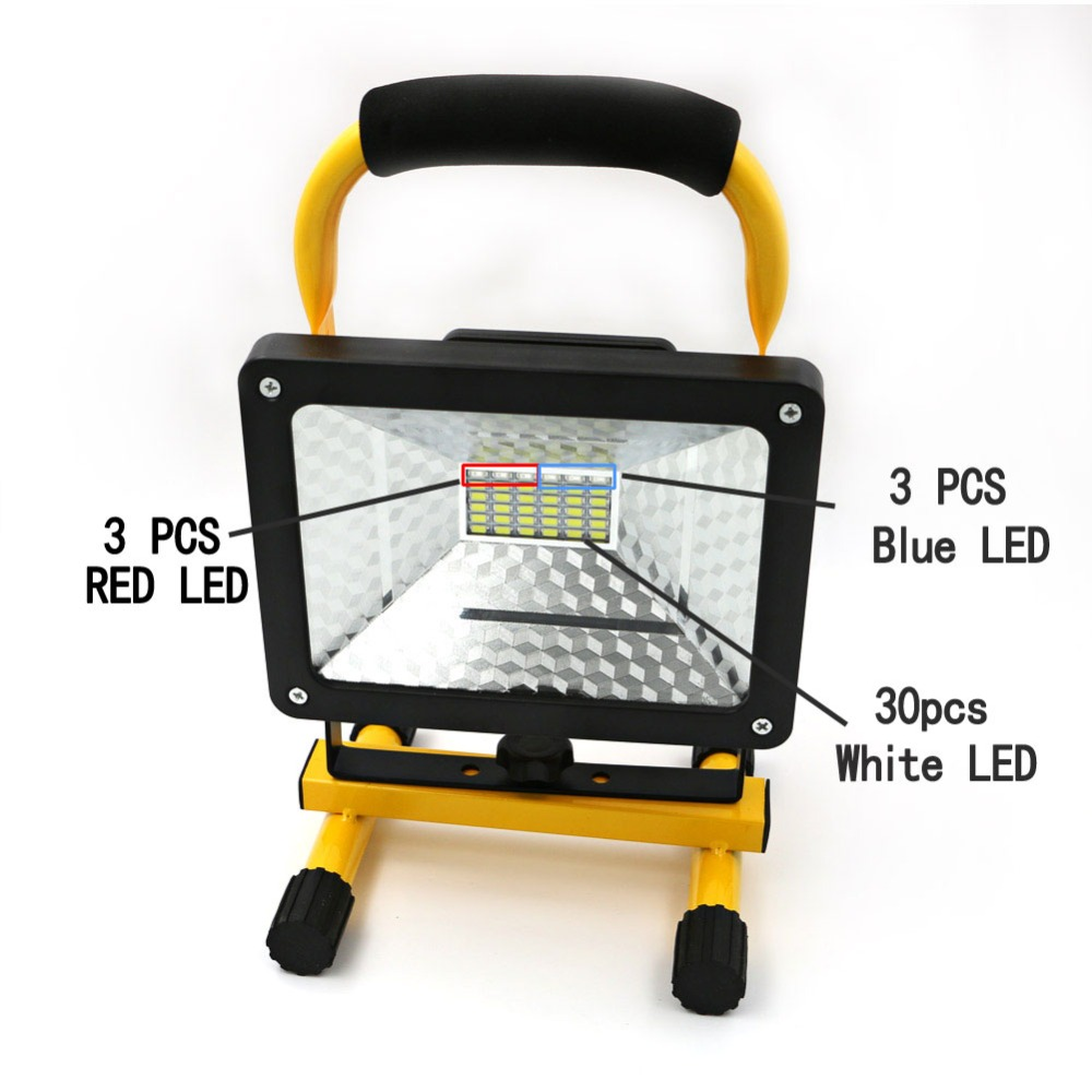 Brightness Waterproof Outdoor LED Flood Light 3 Modes 30W 36 LED Portable Work Light Rechargeable LED