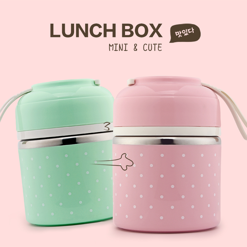 portable cute mini japanese bento box thermal insulation leak proof stainless steel lunch box. Black Bedroom Furniture Sets. Home Design Ideas