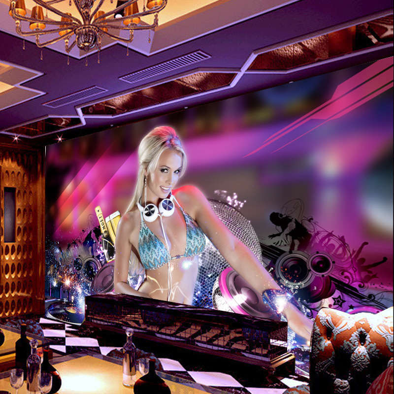Beibehang Papel De Parede 3D Stereoscopic Wallpaper Themed Hotel Bar KTV Nightclub Sexy Girl Wallpaper Non-woven Wallpaper Mural