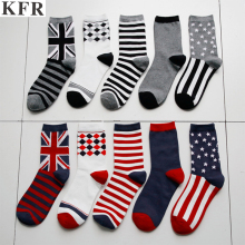 hot deal buy 2018 men british flag argyle star pattern cotton crew socks dress brand harajuku designer fixed gear happy funny art socks